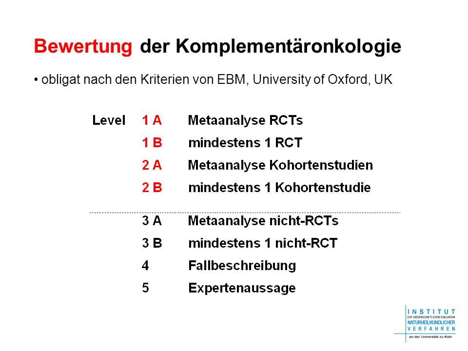 Bewertung der Komplementäronkologie obligat nach den Kriterien von EBM, University of Oxford, UK