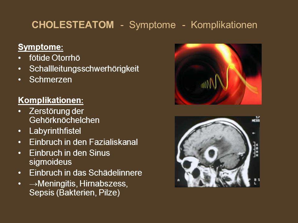 CHOLESTEATOM - Symptome - Komplikationen Symptome : fötide Otorrhö Schallleitungsschwerhörigkeit Schmerzen Komplikationen : Zerstörung der Gehörknöche