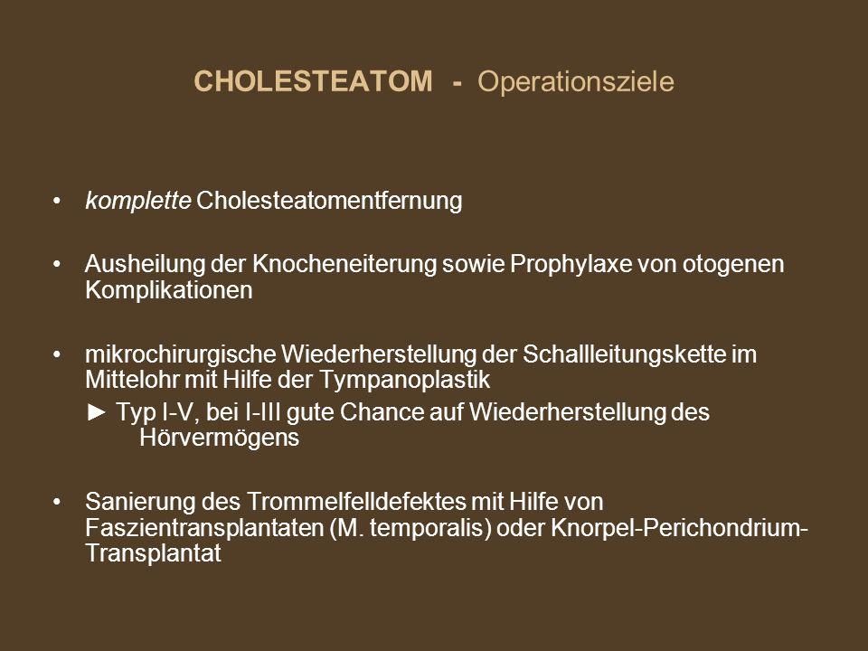 CHOLESTEATOM - Operationsziele komplette Cholesteatomentfernung Ausheilung der Knocheneiterung sowie Prophylaxe von otogenen Komplikationen mikrochiru