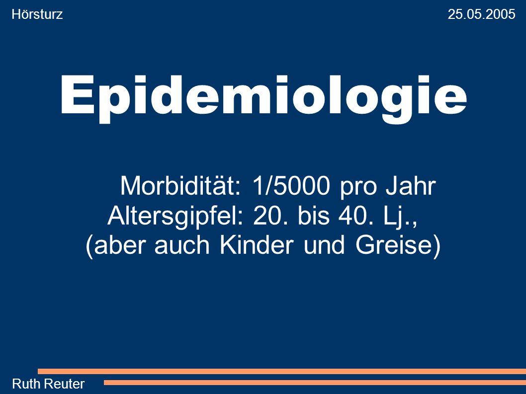 Hörsturz 25.05.2005 Ruth Reuter Epidemiologie Morbidität: 1/5000 pro Jahr Altersgipfel: 20. bis 40. Lj., (aber auch Kinder und Greise)