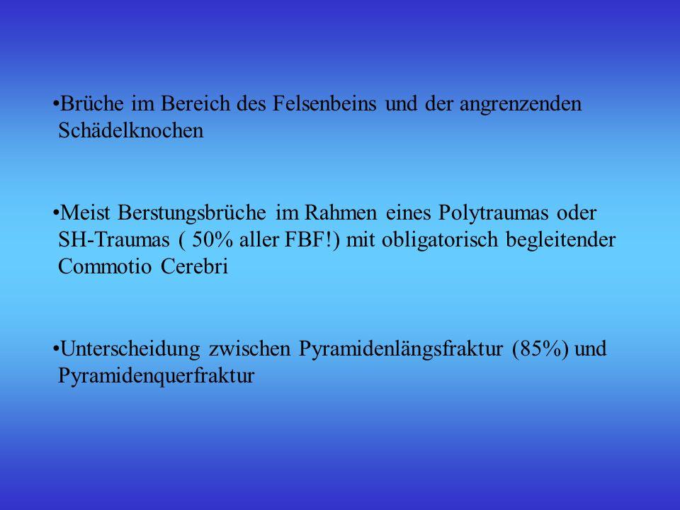 Brüche im Bereich des Felsenbeins und der angrenzenden Schädelknochen Meist Berstungsbrüche im Rahmen eines Polytraumas oder SH-Traumas ( 50% aller FB