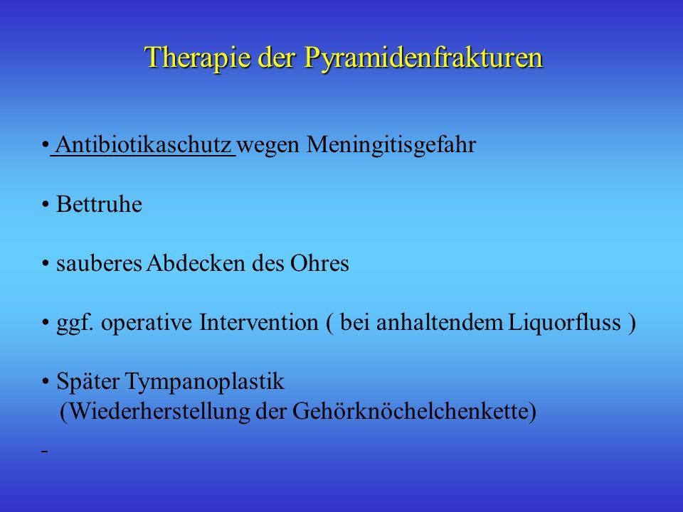 Therapie der Pyramidenfrakturen Antibiotikaschutz wegen Meningitisgefahr Bettruhe sauberes Abdecken des Ohres ggf. operative Intervention ( bei anhalt