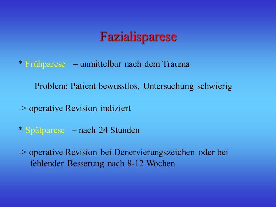 Fazialisparese * Frühparese – unmittelbar nach dem Trauma Problem: Patient bewusstlos, Untersuchung schwierig -> operative Revision indiziert * Spätpa