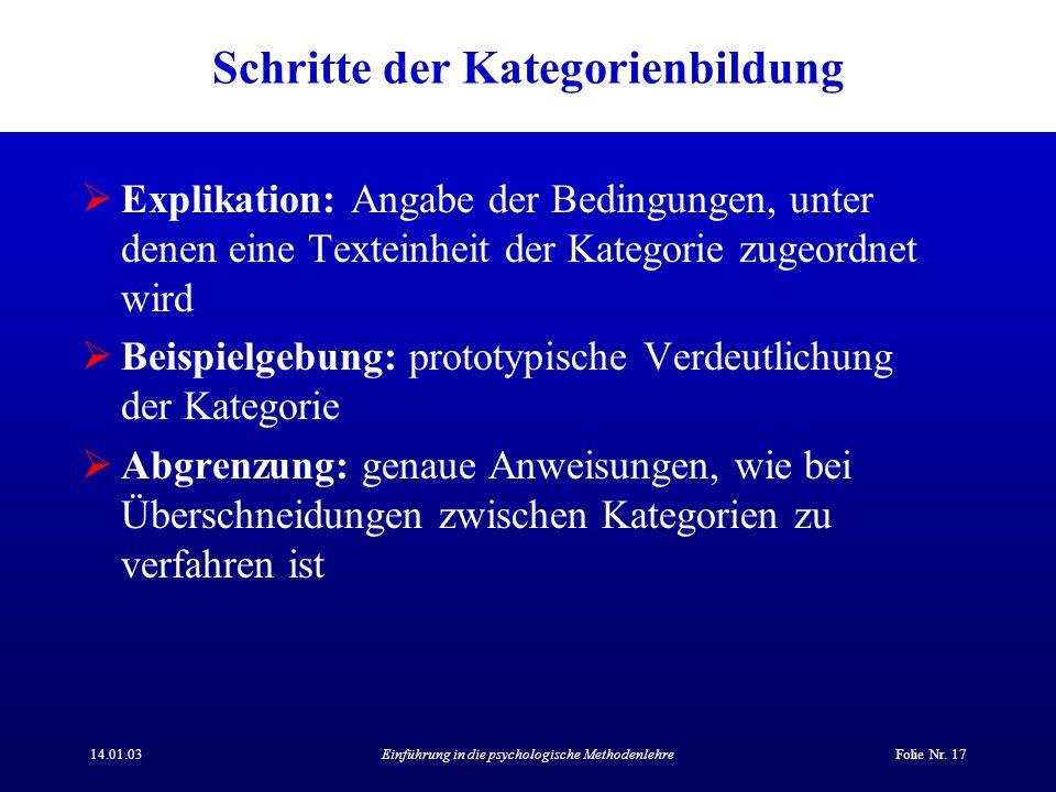 14.01.03Einführung in die psychologische MethodenlehreFolie Nr. 17 Schritte der Kategorienbildung Explikation: Angabe der Bedingungen, unter denen ein