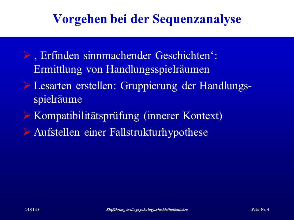 14.01.03Einführung in die psychologische MethodenlehreFolie Nr. 4 Vorgehen bei der Sequenzanalyse Erfinden sinnmachender Geschichten: Ermittlung von H