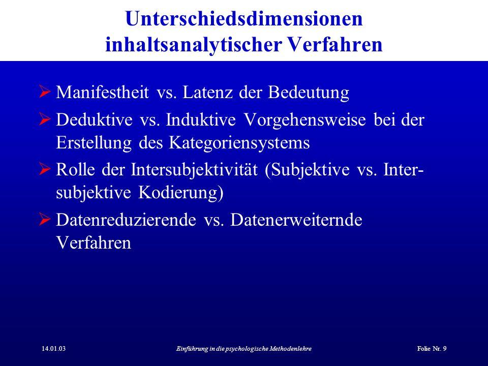 14.01.03Einführung in die psychologische MethodenlehreFolie Nr. 9 Unterschiedsdimensionen inhaltsanalytischer Verfahren Manifestheit vs. Latenz der Be