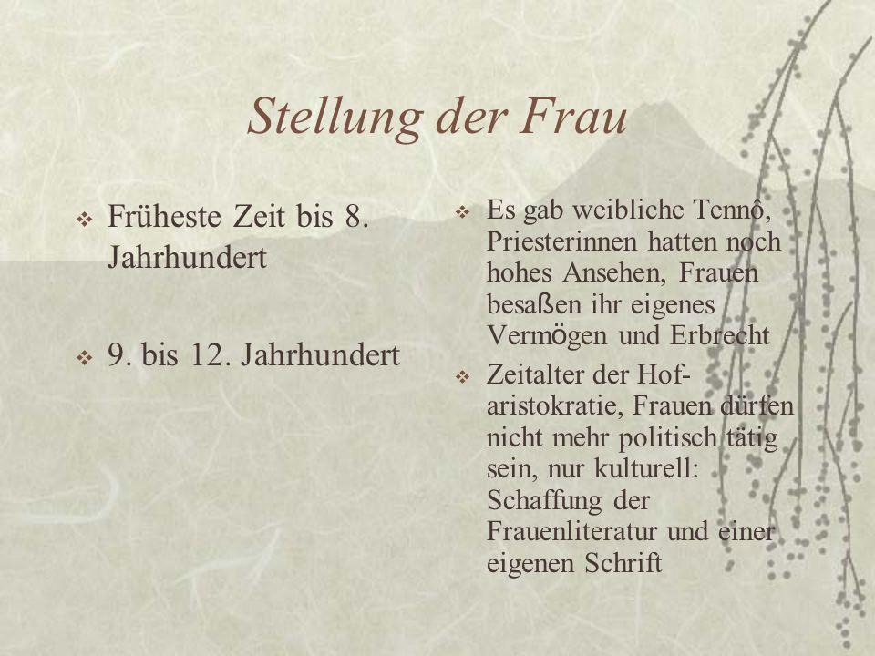 Stellung der Frau Früheste Zeit bis 8. Jahrhundert 9.