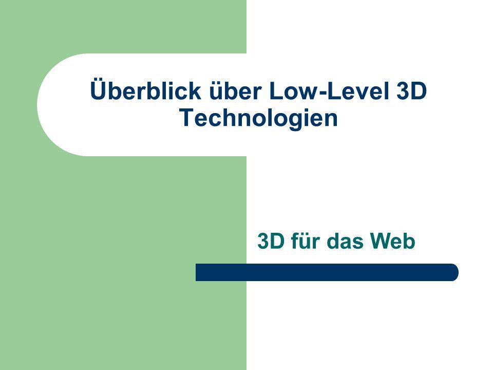 Überblick über Low-Level 3D Technologien 3D für das Web
