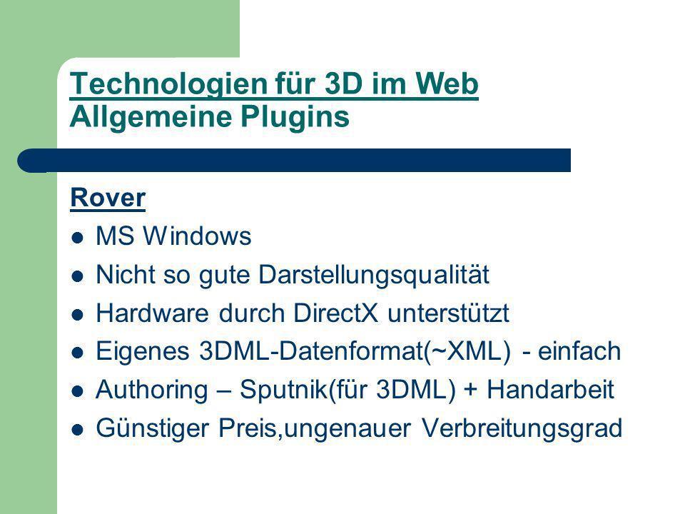 Technologien für 3D im Web Allgemeine Plugins Rover MS Windows Nicht so gute Darstellungsqualität Hardware durch DirectX unterstützt Eigenes 3DML-Datenformat(~XML) - einfach Authoring – Sputnik(für 3DML) + Handarbeit Günstiger Preis,ungenauer Verbreitungsgrad