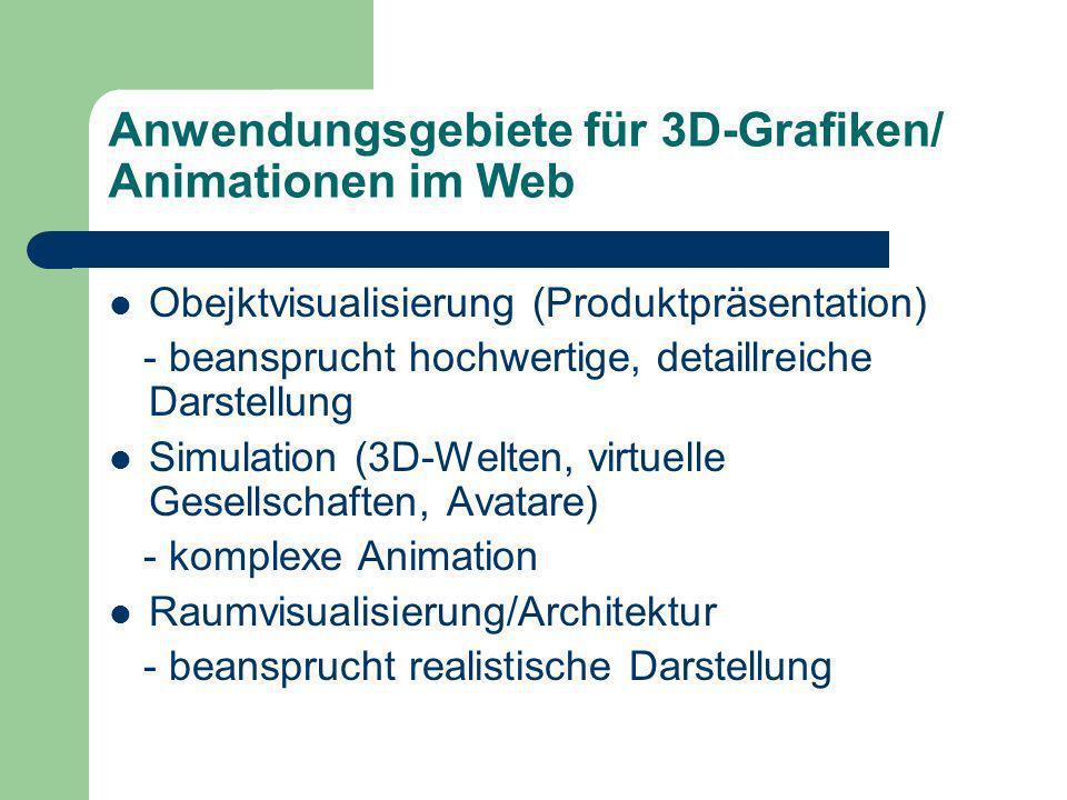Anwendungsgebiete für 3D-Grafiken/ Animationen im Web Obejktvisualisierung (Produktpräsentation) - beansprucht hochwertige, detaillreiche Darstellung Simulation (3D-Welten, virtuelle Gesellschaften, Avatare) - komplexe Animation Raumvisualisierung/Architektur - beansprucht realistische Darstellung