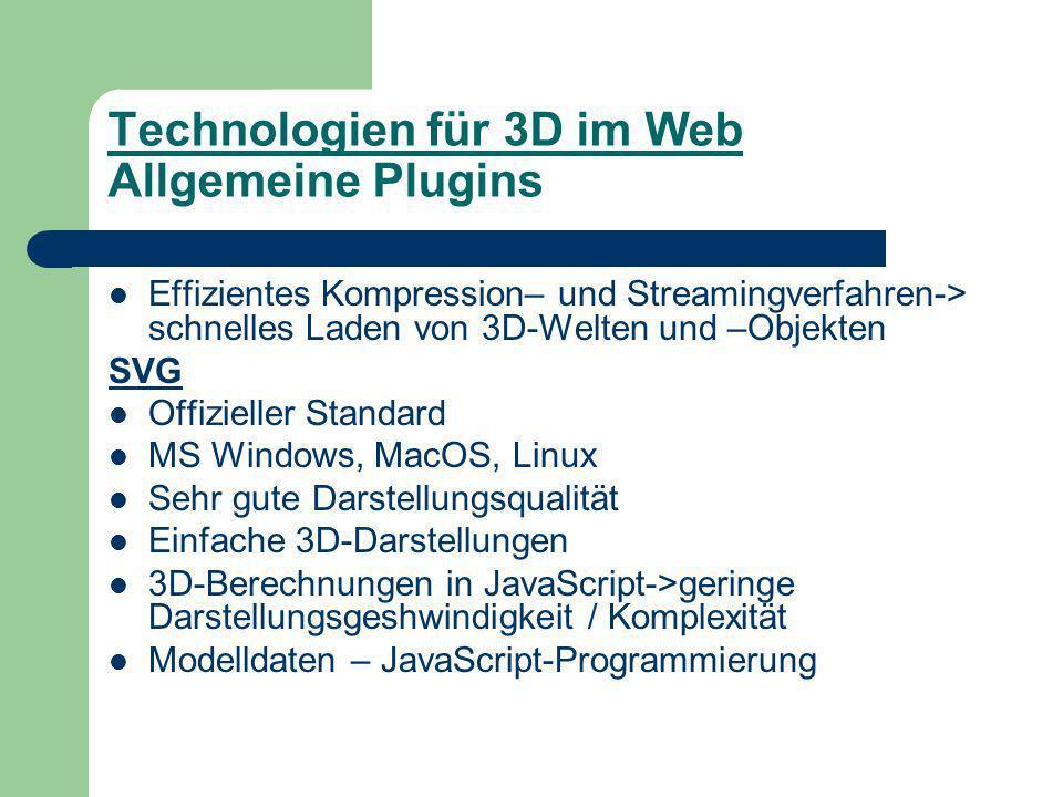 Technologien für 3D im Web Allgemeine Plugins Effizientes Kompression– und Streamingverfahren-> schnelles Laden von 3D-Welten und –Objekten SVG Offizieller Standard MS Windows, MacOS, Linux Sehr gute Darstellungsqualität Einfache 3D-Darstellungen 3D-Berechnungen in JavaScript->geringe Darstellungsgeshwindigkeit / Komplexität Modelldaten – JavaScript-Programmierung