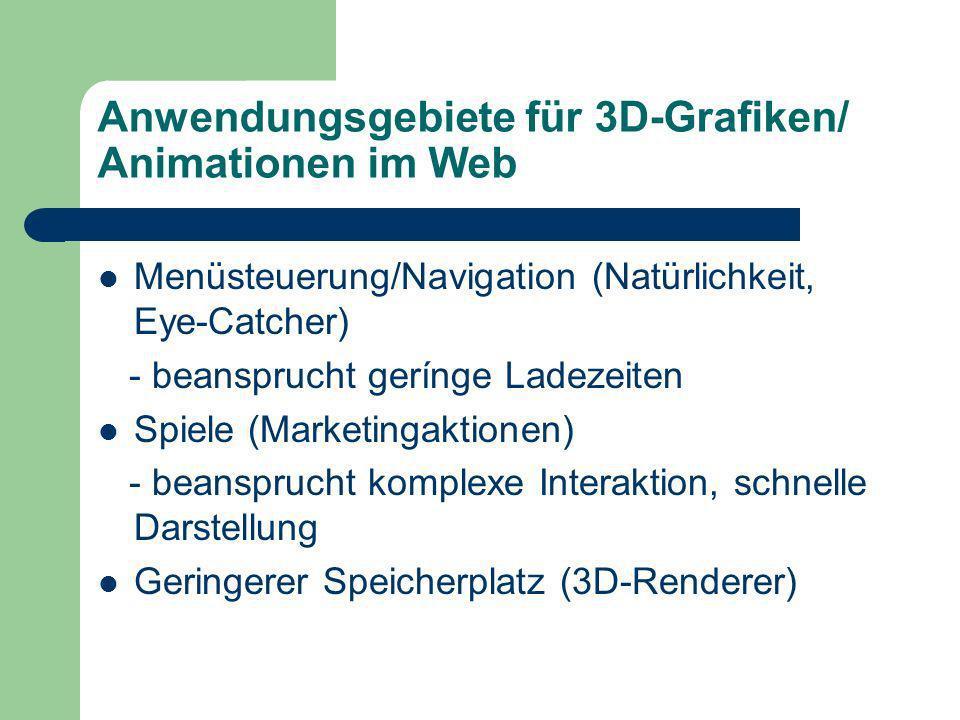 Anwendungsgebiete für 3D-Grafiken/ Animationen im Web Menüsteuerung/Navigation (Natürlichkeit, Eye-Catcher) - beansprucht gerínge Ladezeiten Spiele (Marketingaktionen) - beansprucht komplexe Interaktion, schnelle Darstellung Geringerer Speicherplatz (3D-Renderer)