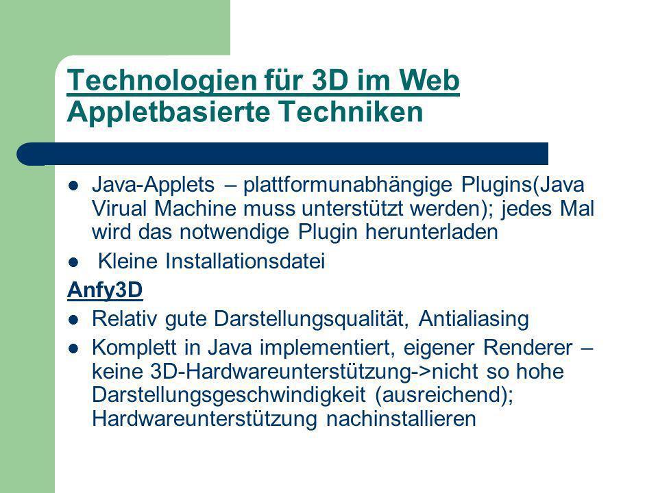 Technologien für 3D im Web Appletbasierte Techniken Java-Applets – plattformunabhängige Plugins(Java Virual Machine muss unterstützt werden); jedes Mal wird das notwendige Plugin herunterladen Kleine Installationsdatei Anfy3D Relativ gute Darstellungsqualität, Antialiasing Komplett in Java implementiert, eigener Renderer – keine 3D-Hardwareunterstützung->nicht so hohe Darstellungsgeschwindigkeit (ausreichend); Hardwareunterstützung nachinstallieren