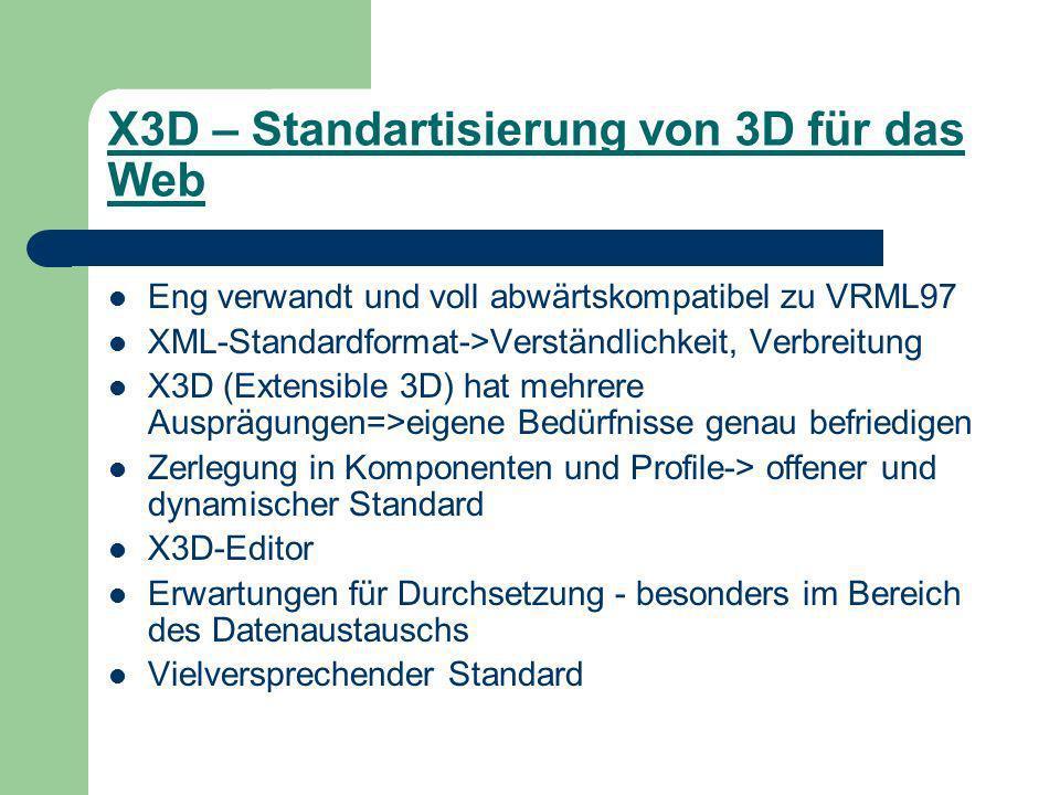 X3D – Standartisierung von 3D für das Web Eng verwandt und voll abwärtskompatibel zu VRML97 XML-Standardformat->Verständlichkeit, Verbreitung X3D (Extensible 3D) hat mehrere Ausprägungen=>eigene Bedürfnisse genau befriedigen Zerlegung in Komponenten und Profile-> offener und dynamischer Standard X3D-Editor Erwartungen für Durchsetzung - besonders im Bereich des Datenaustauschs Vielversprechender Standard