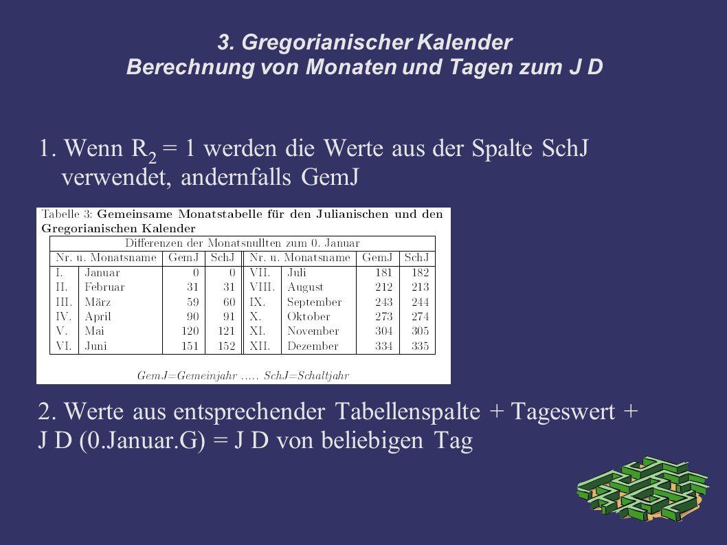 3. Gregorianischer Kalender Berechnung von Monaten und Tagen zum J D 1. Wenn R 2 = 1 werden die Werte aus der Spalte SchJ verwendet, andernfalls GemJ