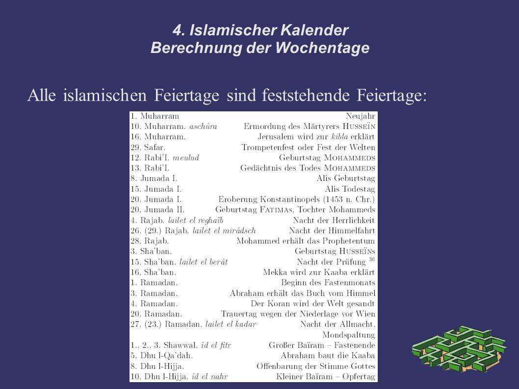 4. Islamischer Kalender Berechnung der Wochentage Alle islamischen Feiertage sind feststehende Feiertage: