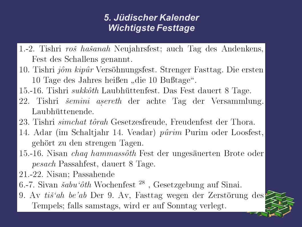 5. Jüdischer Kalender Wichtigste Festtage