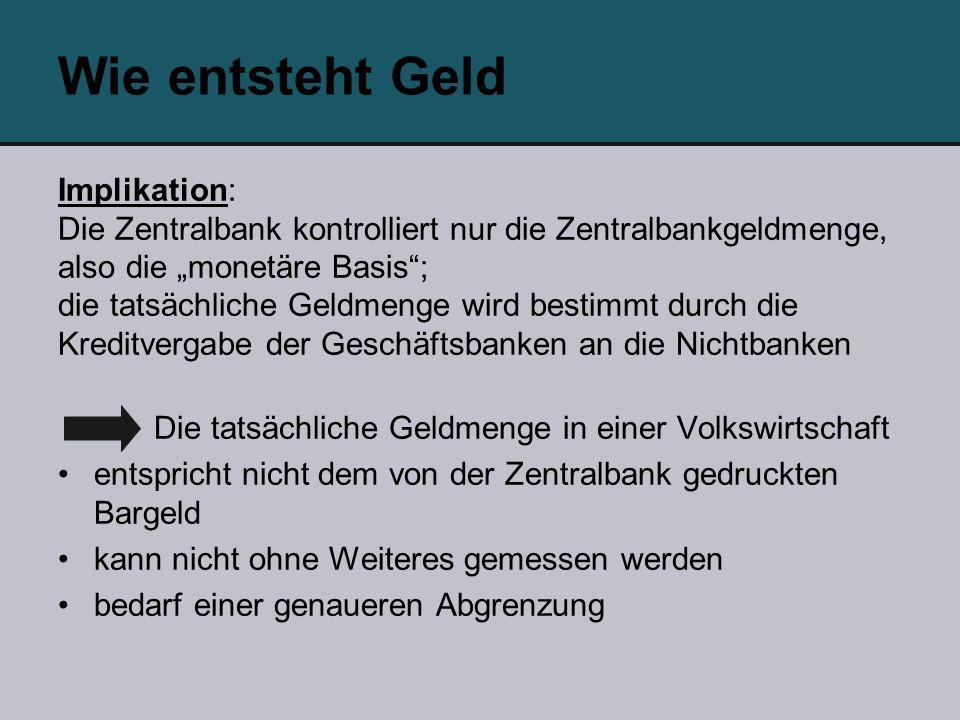 Wie entsteht Geld Implikation: Die Zentralbank kontrolliert nur die Zentralbankgeldmenge, also die monetäre Basis; die tatsächliche Geldmenge wird bes