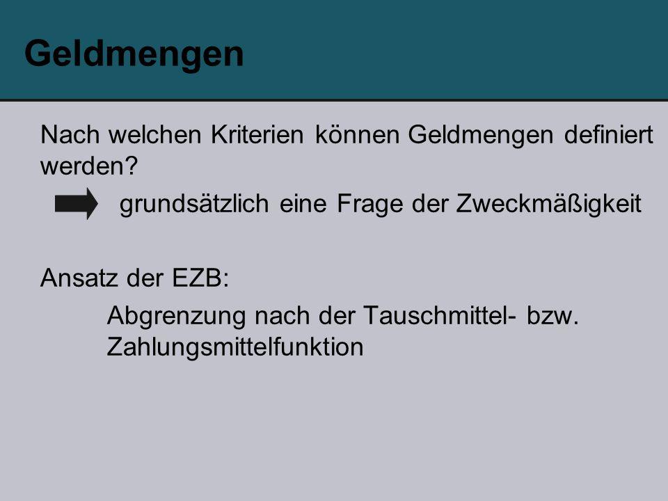 Geldmengen Nach welchen Kriterien können Geldmengen definiert werden? grundsätzlich eine Frage der Zweckmäßigkeit Ansatz der EZB: Abgrenzung nach der