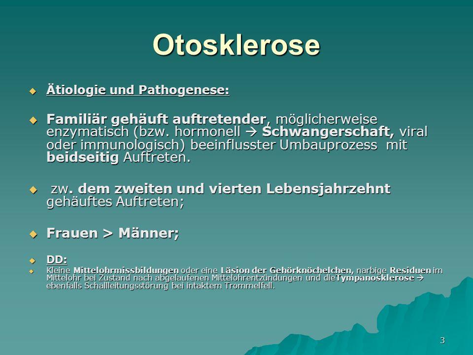 3 Otosklerose Ätiologie und Pathogenese: Ätiologie und Pathogenese: Familiär gehäuft auftretender, möglicherweise enzymatisch (bzw.