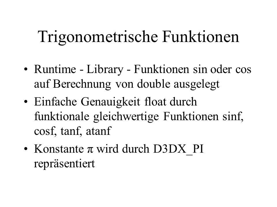 Trigonometrische Funktionen Runtime - Library - Funktionen sin oder cos auf Berechnung von double ausgelegt Einfache Genauigkeit float durch funktiona