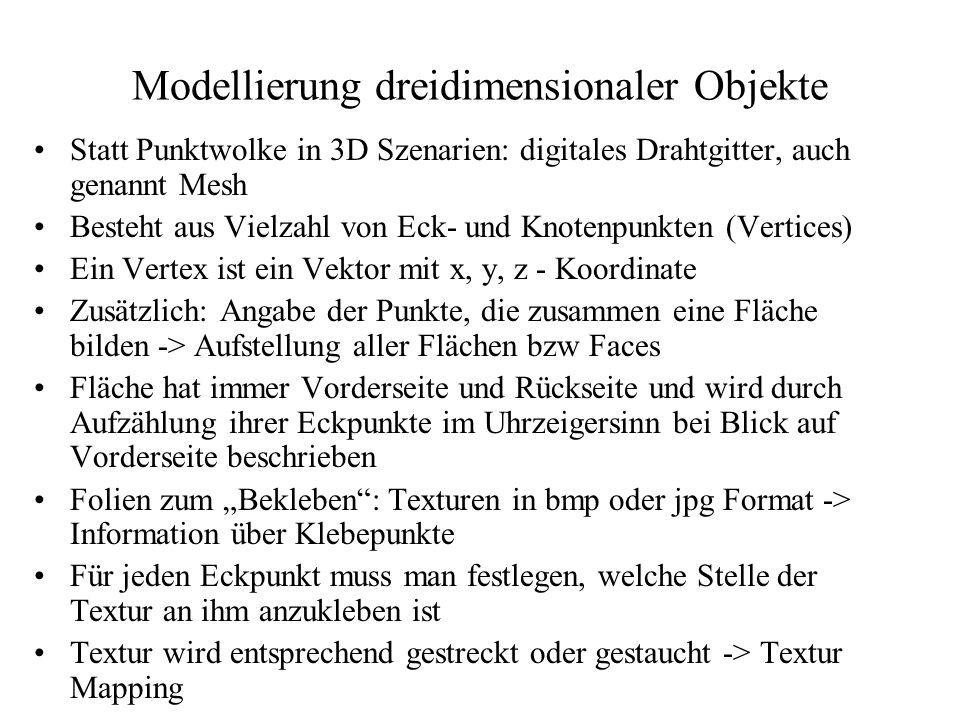 Modellierung dreidimensionaler Objekte Statt Punktwolke in 3D Szenarien: digitales Drahtgitter, auch genannt Mesh Besteht aus Vielzahl von Eck- und Kn