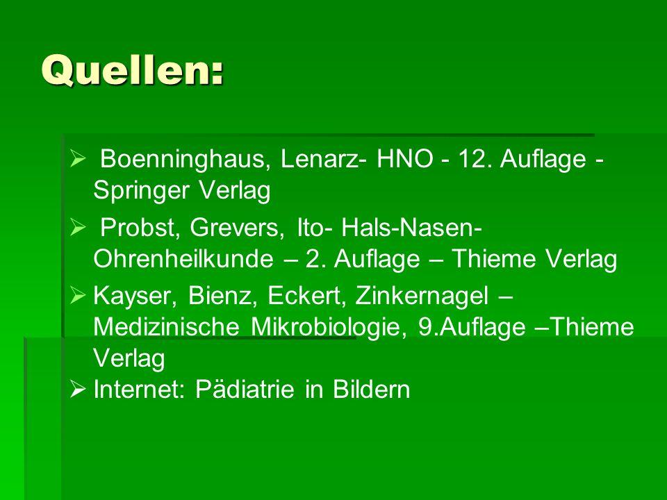 Quellen: Boenninghaus, Lenarz- HNO - 12. Auflage - Springer Verlag Probst, Grevers, Ito- Hals-Nasen- Ohrenheilkunde – 2. Auflage – Thieme Verlag Kayse