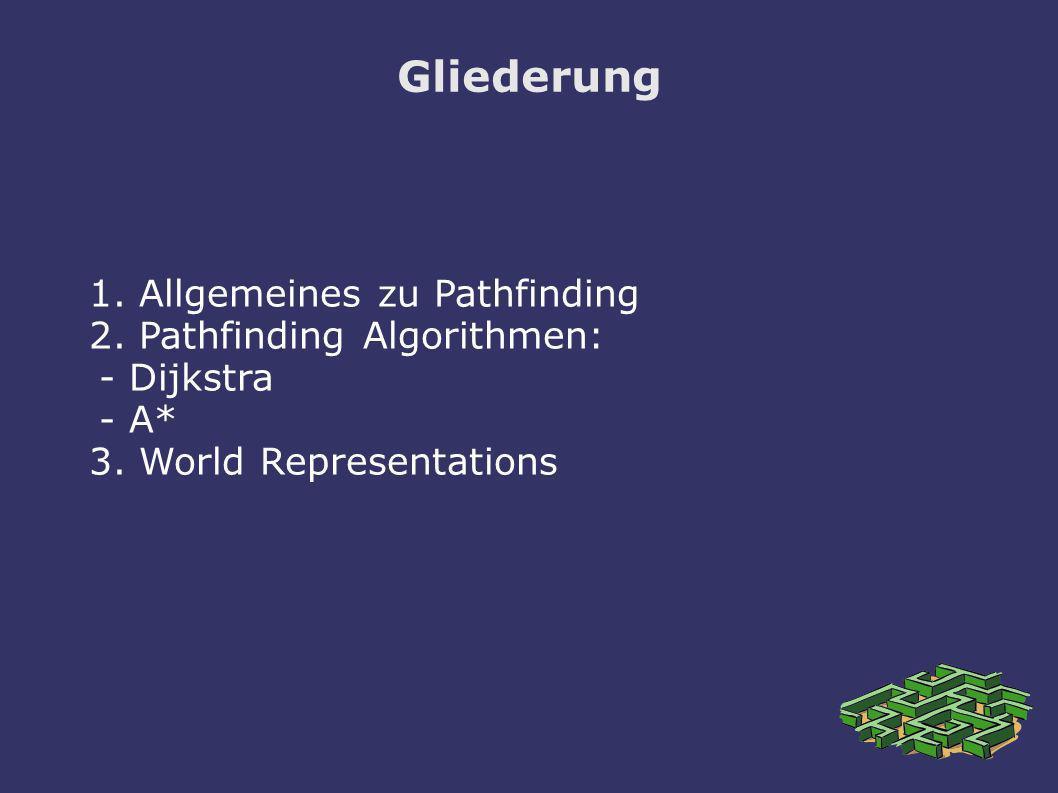 Gliederung 1. Allgemeines zu Pathfinding 2. Pathfinding Algorithmen: - Dijkstra - A* 3. World Representations