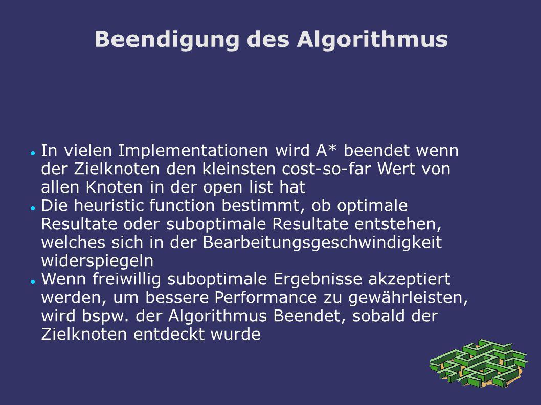 Beendigung des Algorithmus In vielen Implementationen wird A* beendet wenn der Zielknoten den kleinsten cost-so-far Wert von allen Knoten in der open