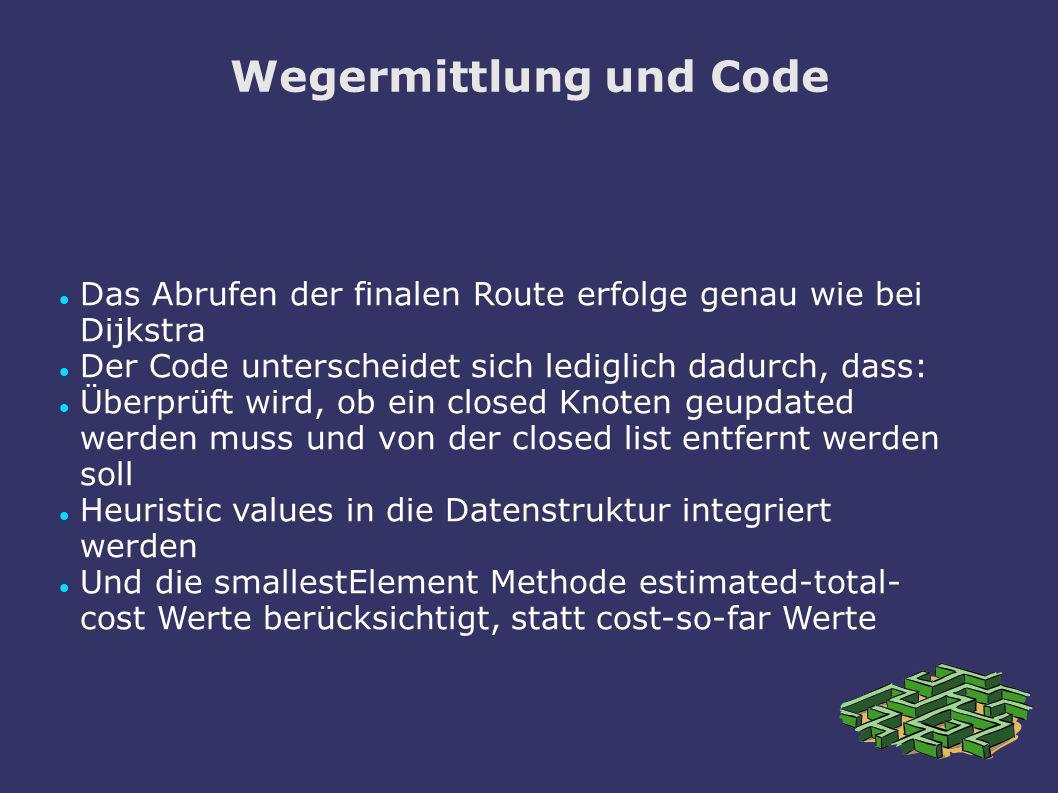 Wegermittlung und Code Das Abrufen der finalen Route erfolge genau wie bei Dijkstra Der Code unterscheidet sich lediglich dadurch, dass: Überprüft wir