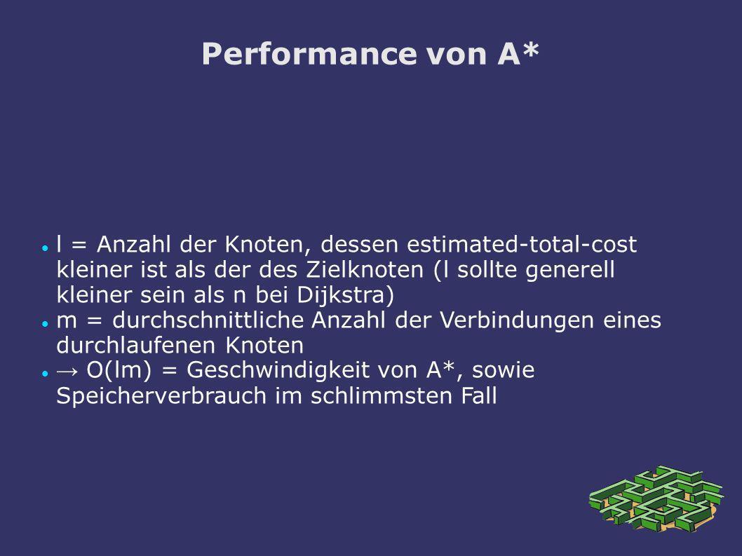 Performance von A* l = Anzahl der Knoten, dessen estimated-total-cost kleiner ist als der des Zielknoten (l sollte generell kleiner sein als n bei Dij