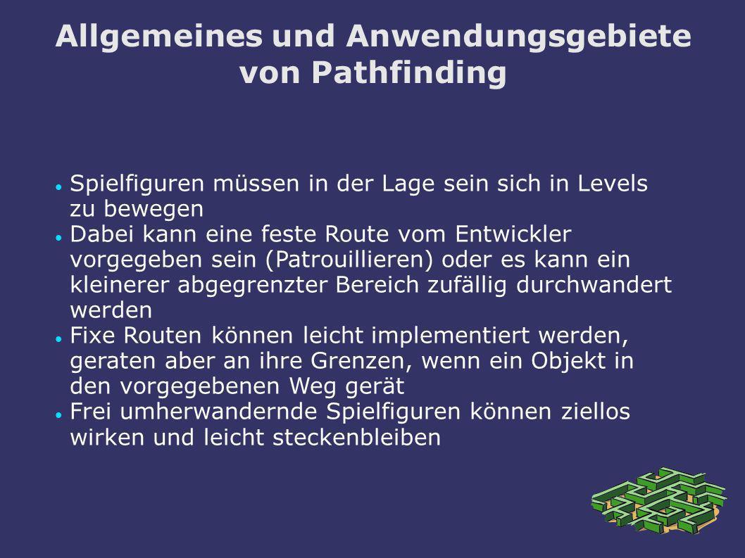 Allgemeines und Anwendungsgebiete von Pathfinding Komplexere Spielfiguren wissen nicht im voraus, wohin sie sich als nächstes bewegen müssen In RTS-Spielen können sie zu jedem Zeitpunkt vom Spieler an jeden Punkt auf der Karte geschickt werden Ein Plattformspiel benötigt evtl.