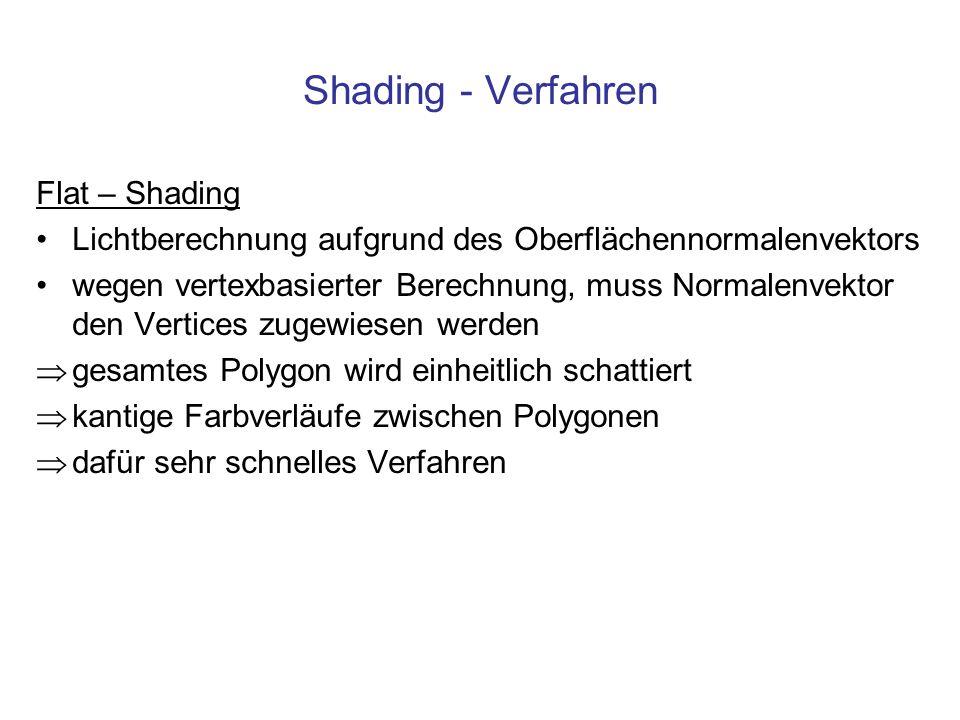 Shading - Verfahren Flat – Shading Lichtberechnung aufgrund des Oberflächennormalenvektors wegen vertexbasierter Berechnung, muss Normalenvektor den V