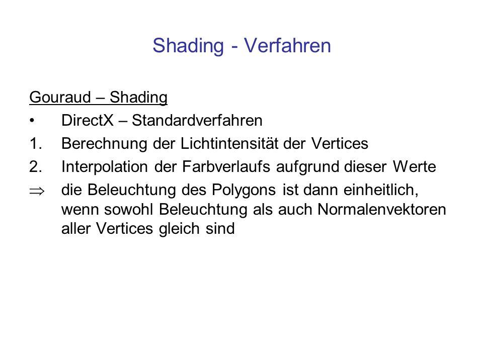 Shading - Verfahren Gouraud – Shading DirectX – Standardverfahren 1.Berechnung der Lichtintensität der Vertices 2.Interpolation der Farbverlaufs aufgr