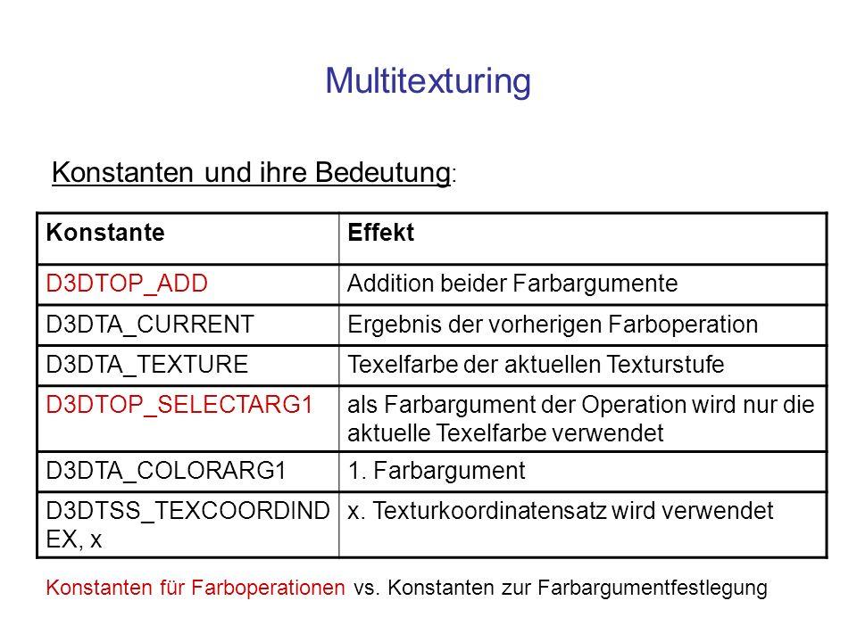 Multitexturing Konstanten und ihre Bedeutung : KonstanteEffekt D3DTOP_ADDAddition beider Farbargumente D3DTA_CURRENTErgebnis der vorherigen Farboperat