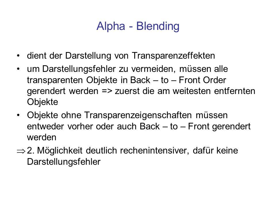 Alpha - Blending dient der Darstellung von Transparenzeffekten um Darstellungsfehler zu vermeiden, müssen alle transparenten Objekte in Back – to – Fr