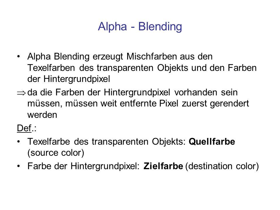 Alpha - Blending Alpha Blending erzeugt Mischfarben aus den Texelfarben des transparenten Objekts und den Farben der Hintergrundpixel da die Farben de