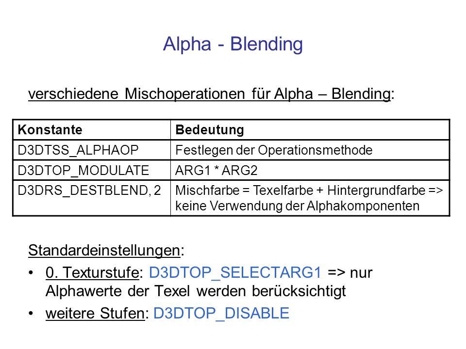 verschiedene Mischoperationen für Alpha – Blending: Standardeinstellungen: 0. Texturstufe: D3DTOP_SELECTARG1 => nur Alphawerte der Texel werden berück