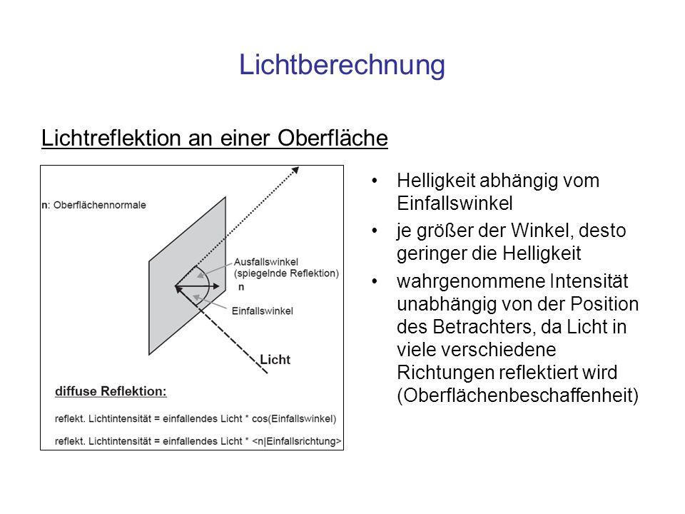 Lichtberechnung Lichtreflektion an einer Oberfläche Helligkeit abhängig vom Einfallswinkel je größer der Winkel, desto geringer die Helligkeit wahrgen