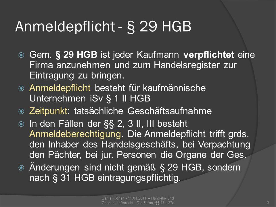 Systematik der §§ 17 ff.