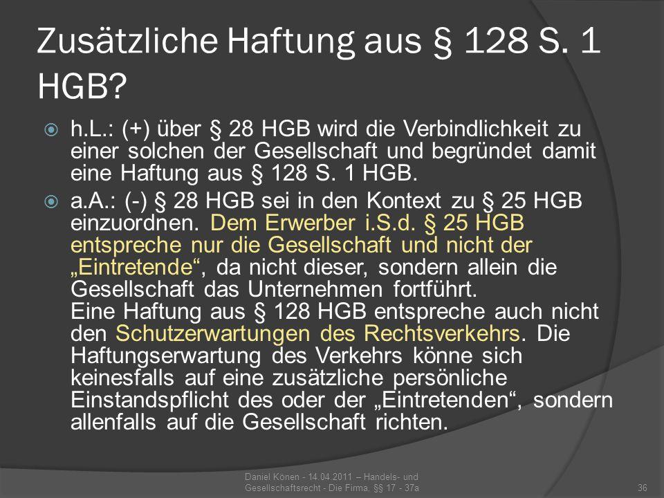 Fall: Firmenfortführung Karl Schmidt (K) veräußert den bisher von ihm unter der Firma Karl Schmidt – Getränke betriebenen Getränkegroßhandel zum 31.12.2010 an Heinz Müller (H).
