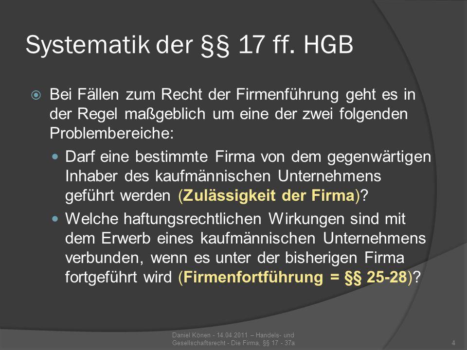 Firmengrundsätze §§ 18 ff.