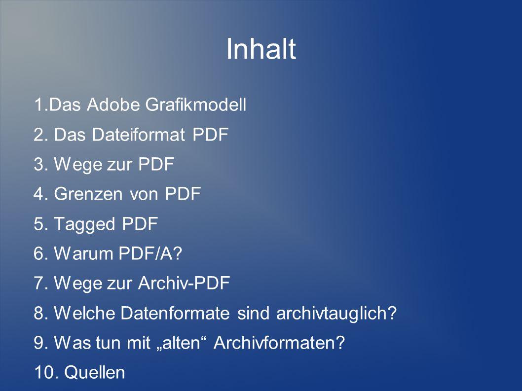 Inhalt 1.Das Adobe Grafikmodell 2. Das Dateiformat PDF 3. Wege zur PDF 4. Grenzen von PDF 5. Tagged PDF 6. Warum PDF/A? 7. Wege zur Archiv-PDF 8. Welc