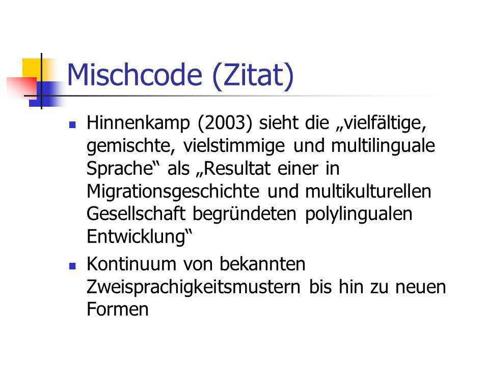Mischcode (Zitat) Hinnenkamp (2003) sieht die vielfältige, gemischte, vielstimmige und multilinguale Sprache als Resultat einer in Migrationsgeschicht