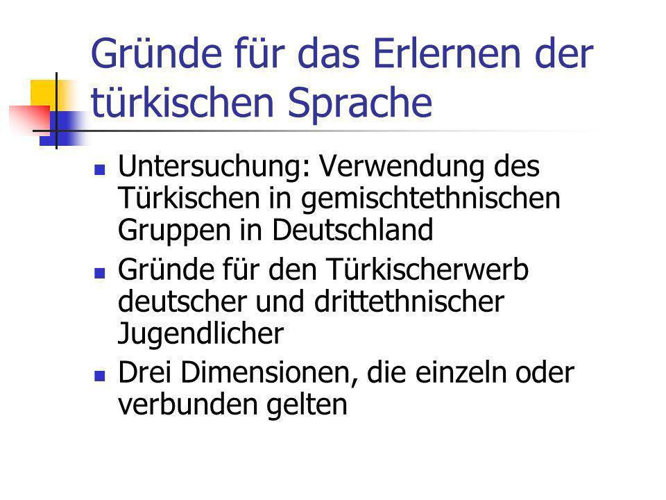 Gründe für das Erlernen der türkischen Sprache Untersuchung: Verwendung des Türkischen in gemischtethnischen Gruppen in Deutschland Gründe für den Tür