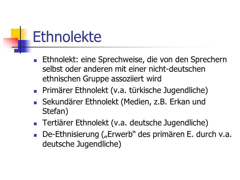 Mischcode: Jugendsprache oder Soziolekt.