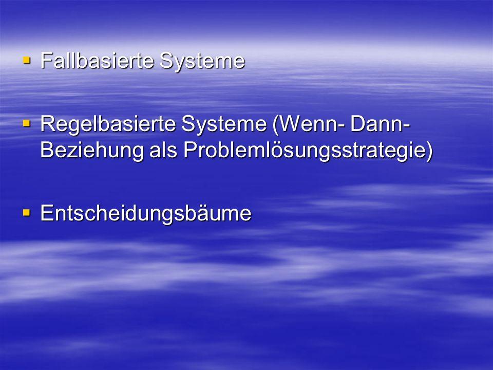 Fallbasierte Systeme Fallbasierte Systeme Regelbasierte Systeme (Wenn- Dann- Beziehung als Problemlösungsstrategie) Regelbasierte Systeme (Wenn- Dann- Beziehung als Problemlösungsstrategie) Entscheidungsbäume Entscheidungsbäume