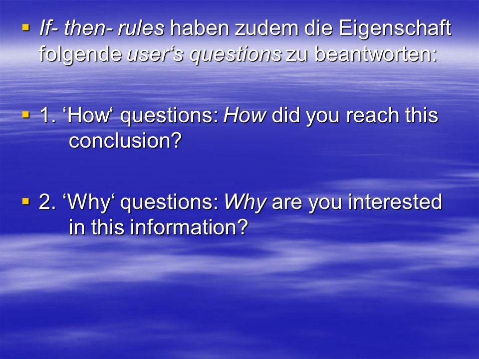 If- then- rules haben zudem die Eigenschaft folgende users questions zu beantworten: If- then- rules haben zudem die Eigenschaft folgende users questions zu beantworten: 1.