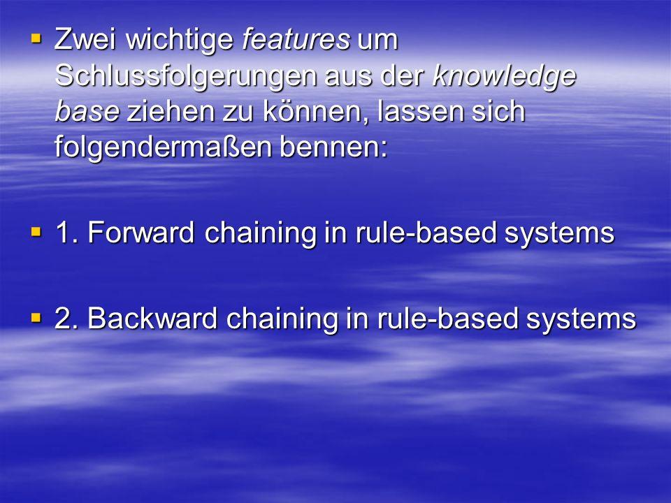 Zwei wichtige features um Schlussfolgerungen aus der knowledge base ziehen zu können, lassen sich folgendermaßen bennen: Zwei wichtige features um Schlussfolgerungen aus der knowledge base ziehen zu können, lassen sich folgendermaßen bennen: 1.