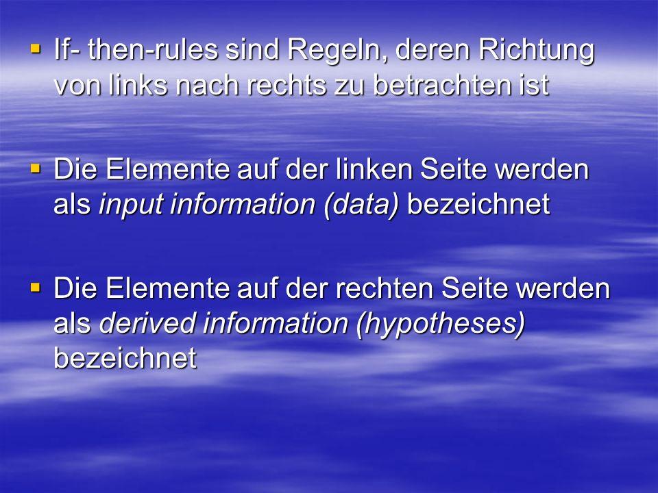 If- then-rules sind Regeln, deren Richtung von links nach rechts zu betrachten ist If- then-rules sind Regeln, deren Richtung von links nach rechts zu betrachten ist Die Elemente auf der linken Seite werden als input information (data) bezeichnet Die Elemente auf der linken Seite werden als input information (data) bezeichnet Die Elemente auf der rechten Seite werden als derived information (hypotheses) bezeichnet Die Elemente auf der rechten Seite werden als derived information (hypotheses) bezeichnet